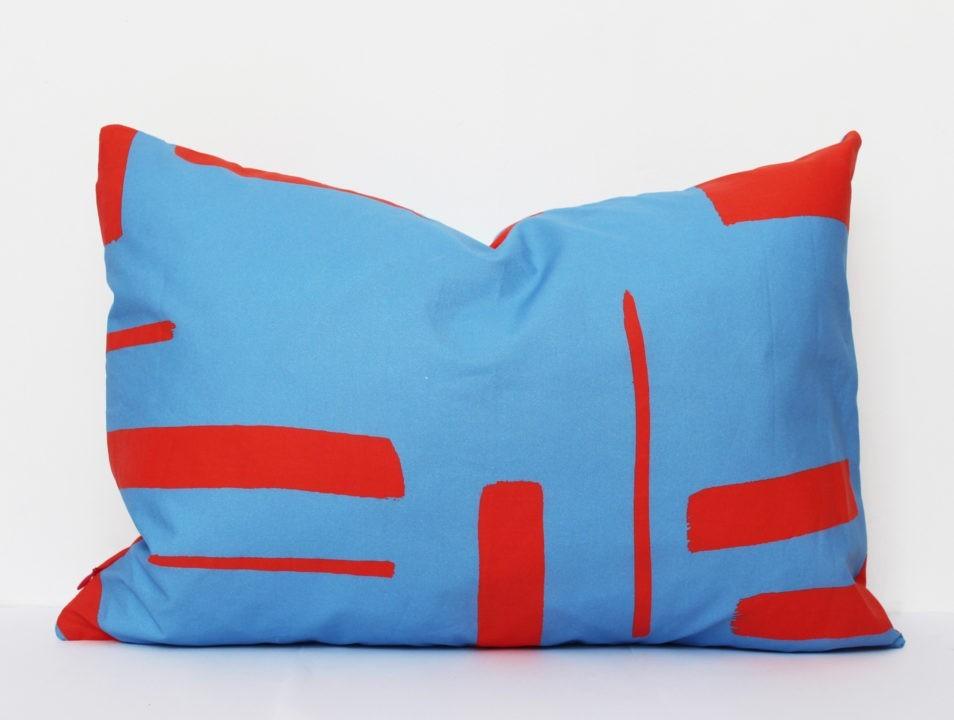 Petrol Blauw Kussens : Kussen blauw rood jantien baas textile designer