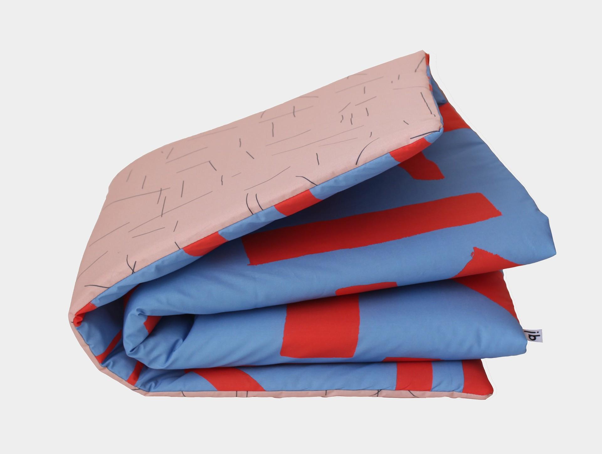 Speelkleed blauw-rood  / roze-donkergroen
