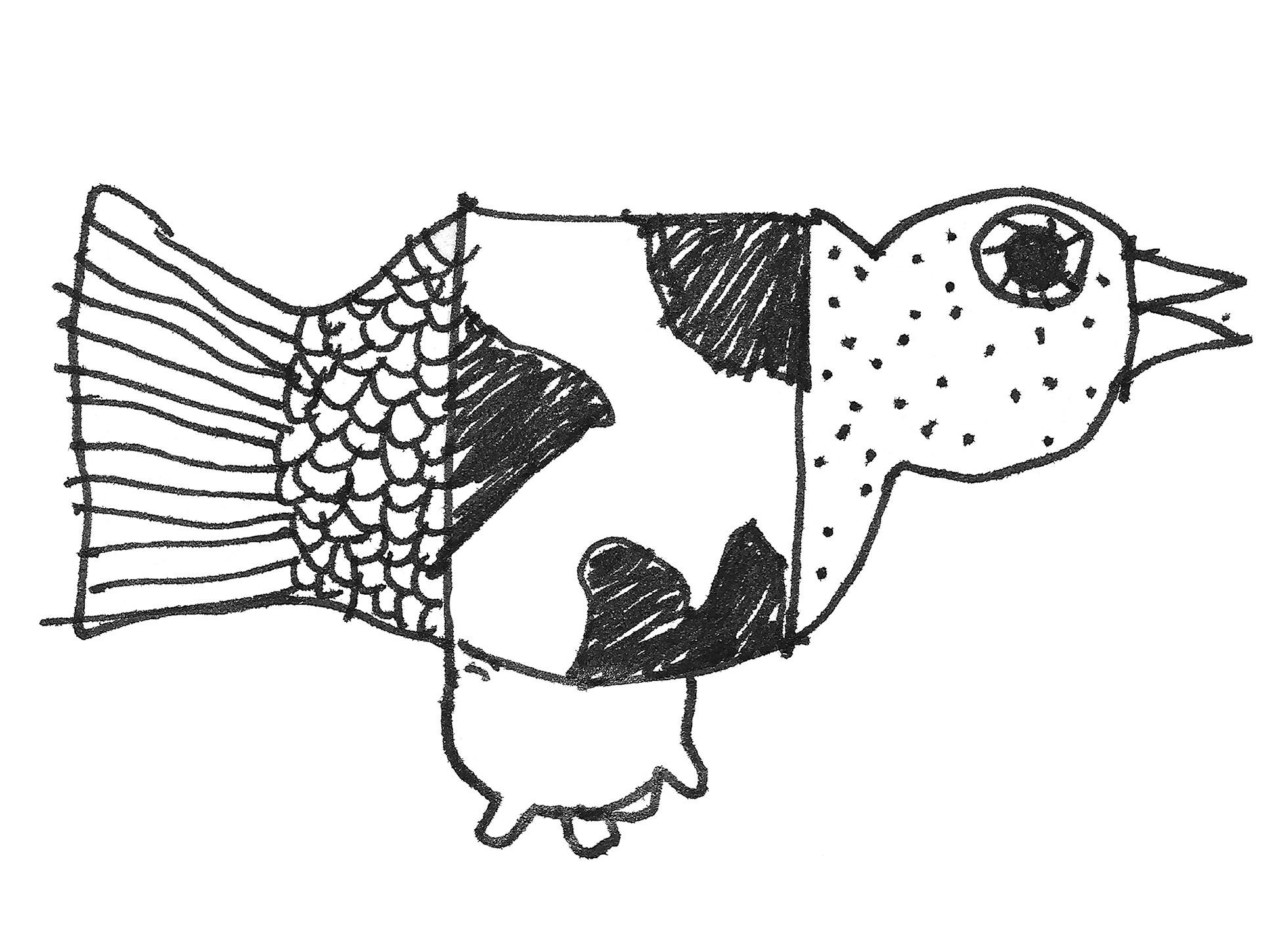 Poster vogel-koe-vis