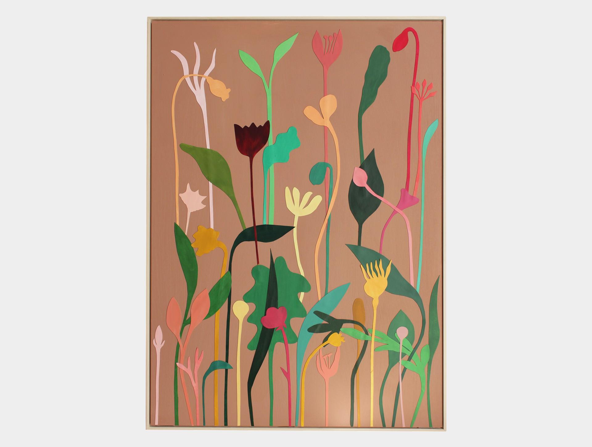 Schilderij, wilde bloemen bruin