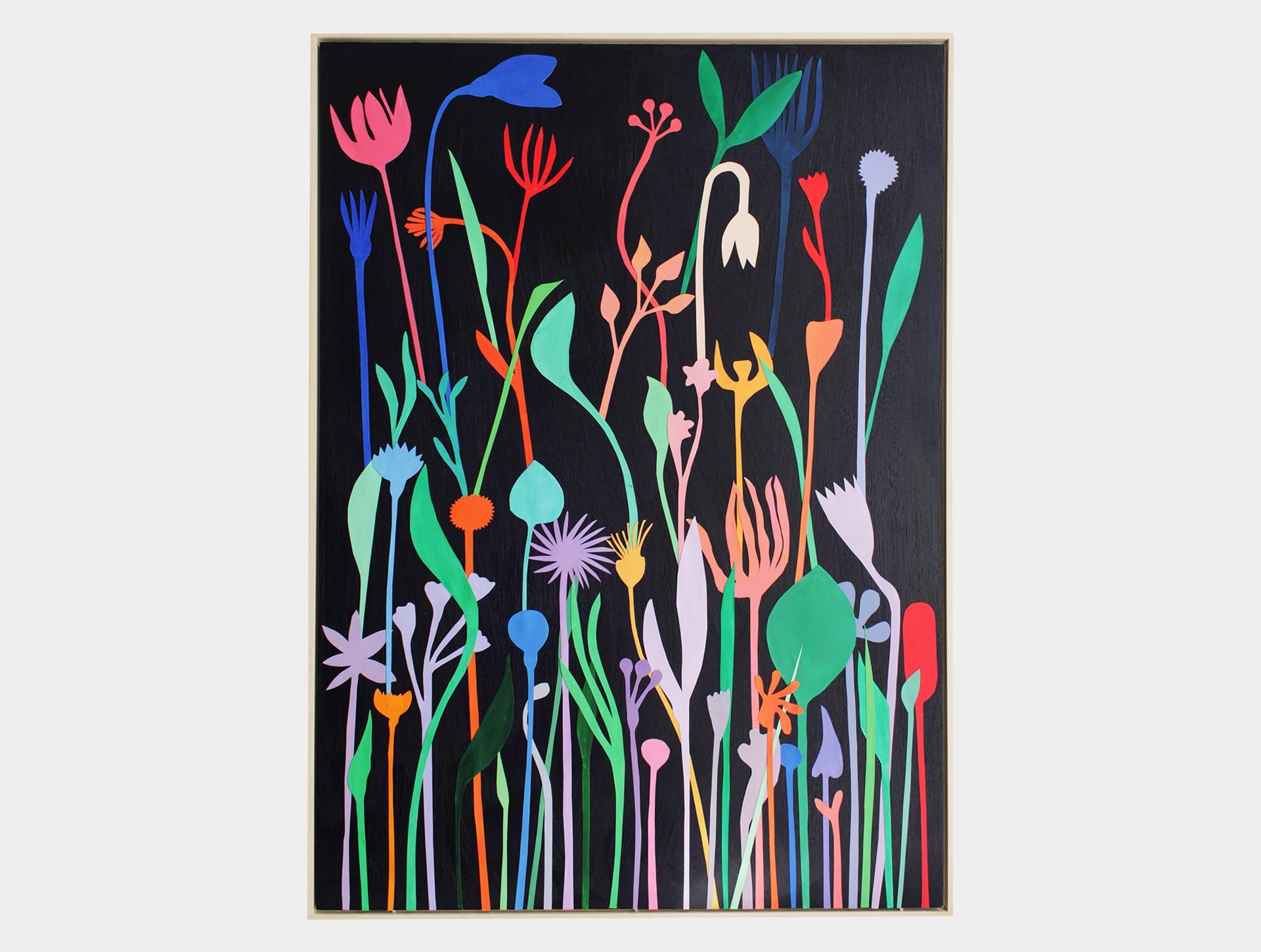 Schilderij, wilde bloemen zwart