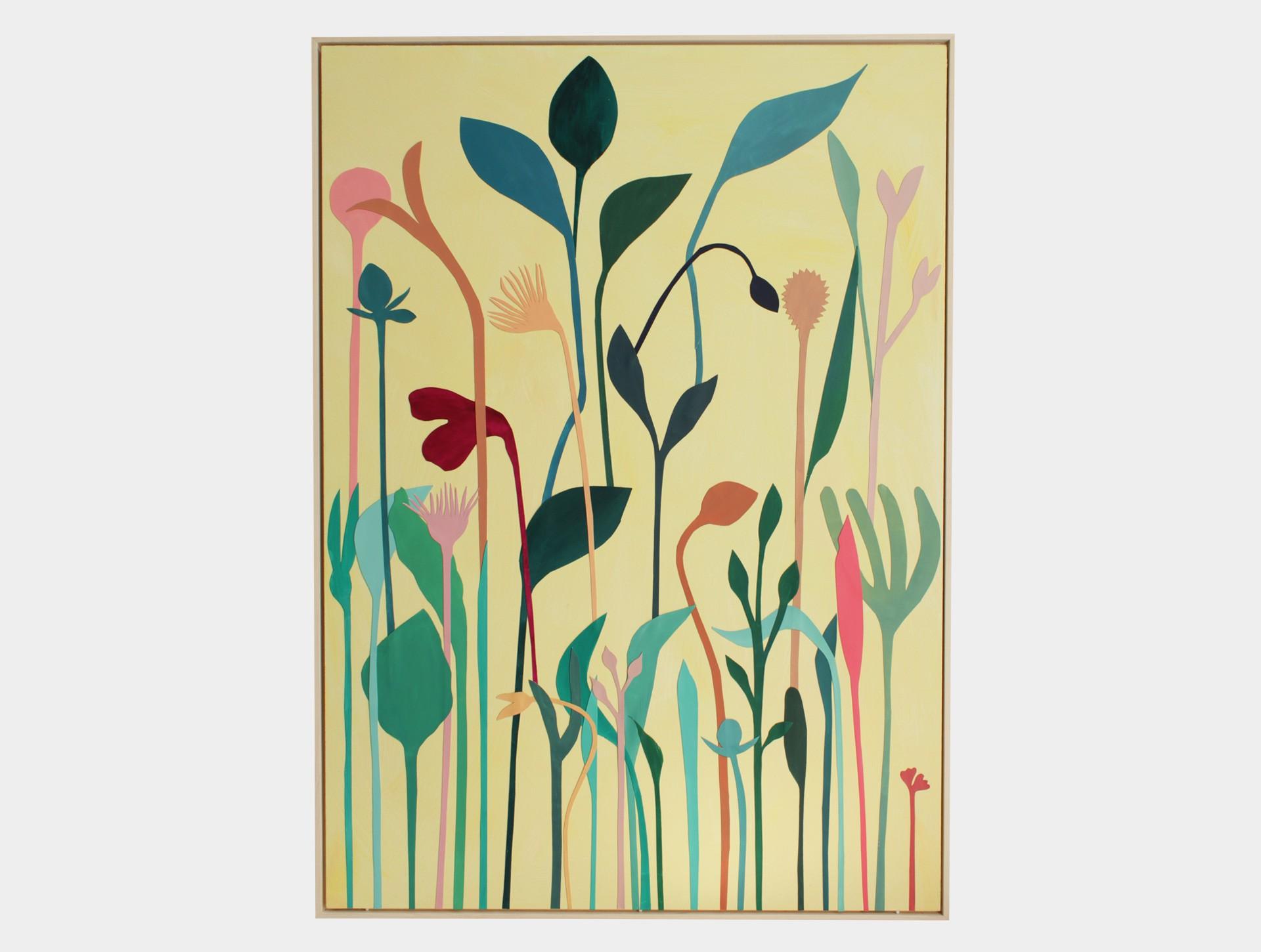 Schilderij, wilde bloemen geel