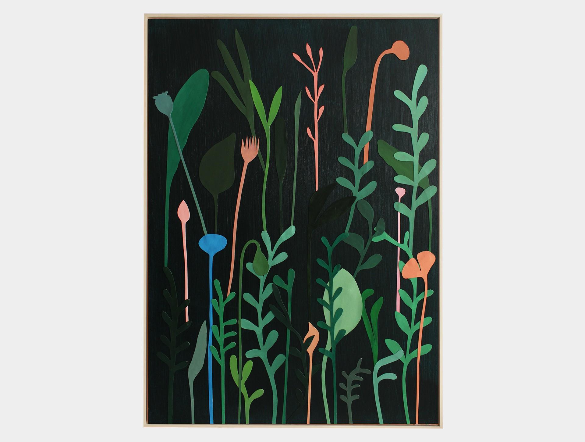 Schilderij, wilde bloemen groen