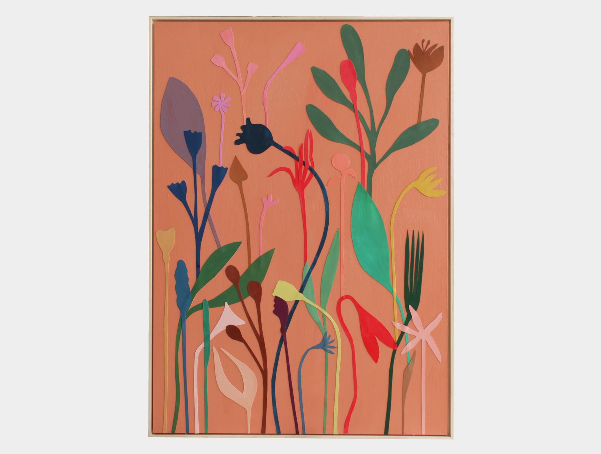 Schilderij, wilde bloemen abrikoos