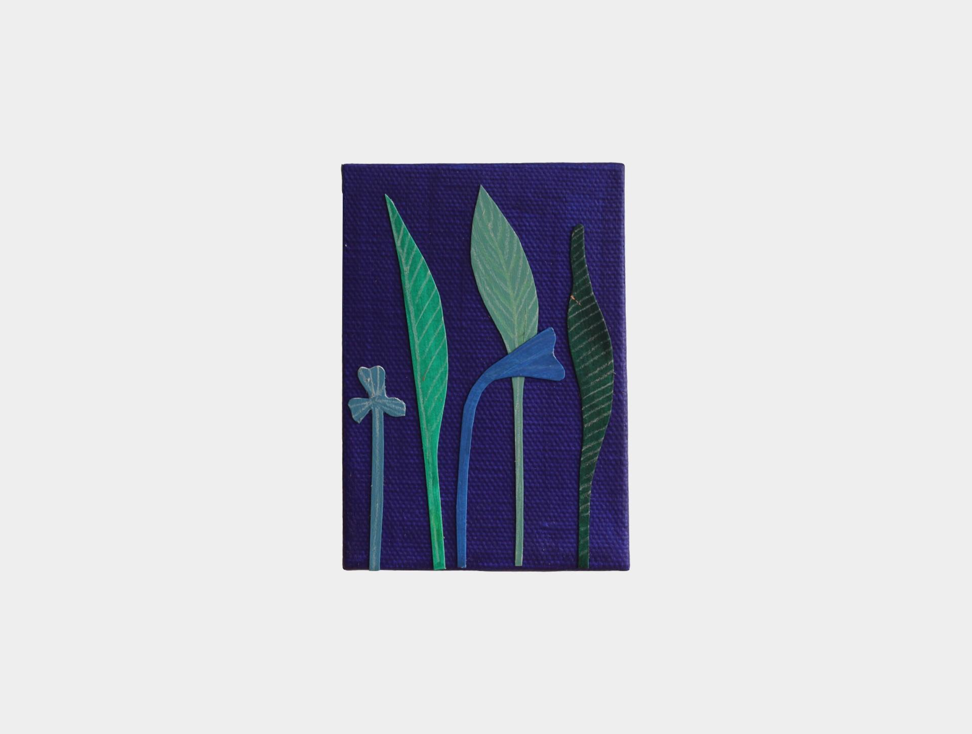 Mini schilderijtje bloemen blauw