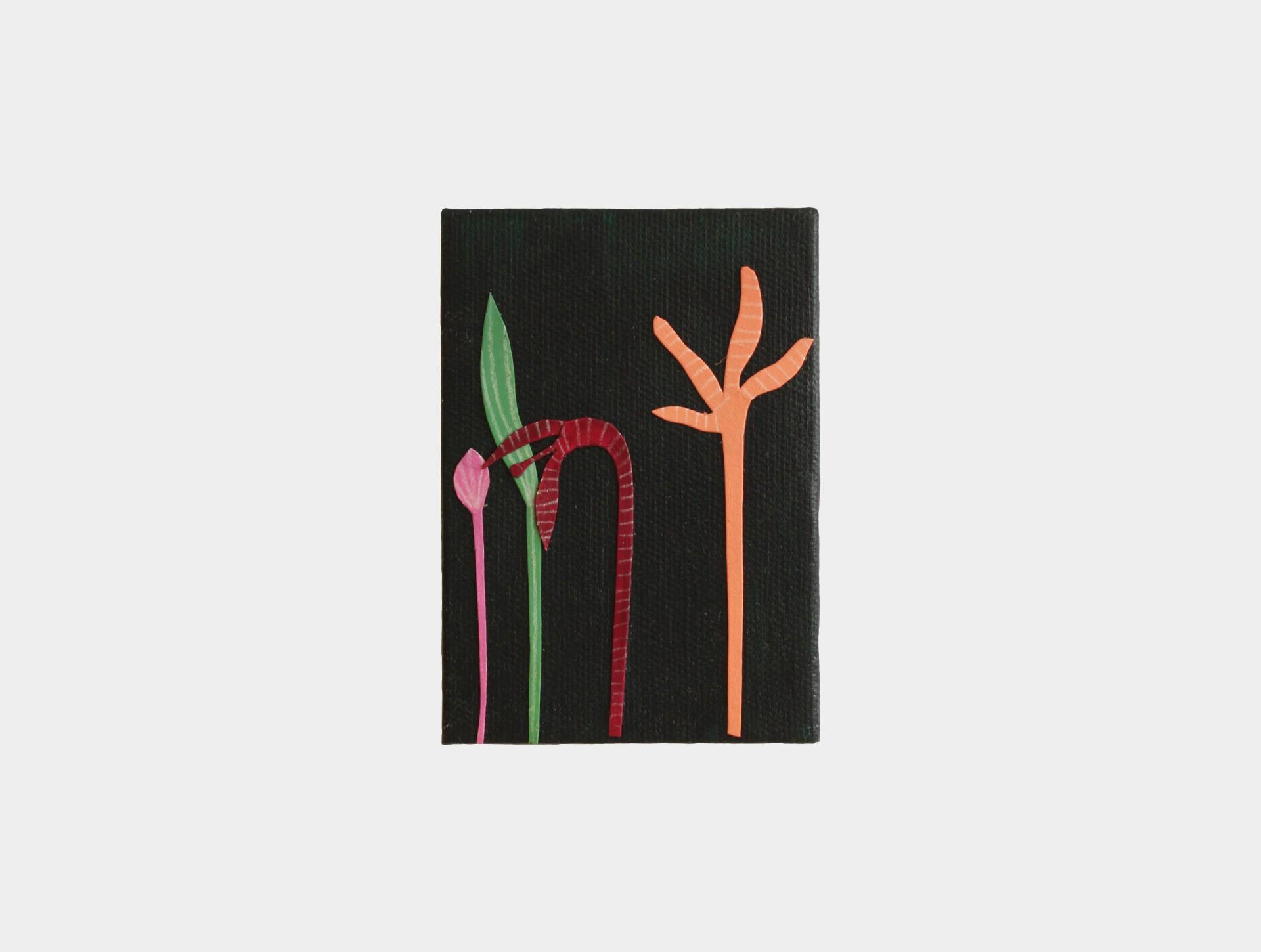 Mini schilderijtje bloemen donkergroen