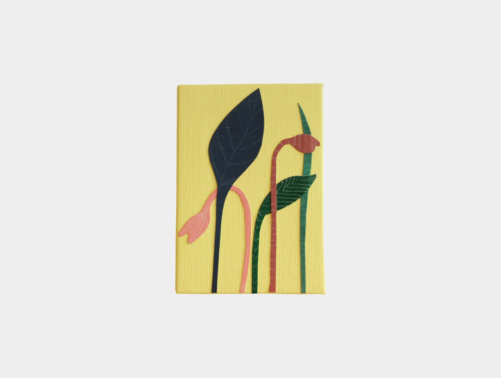 Mini schilderijtje bloemen geel