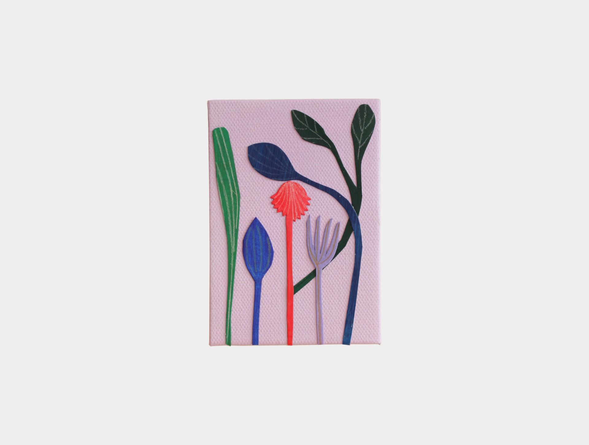 Mini schilderijtje bloemen lila