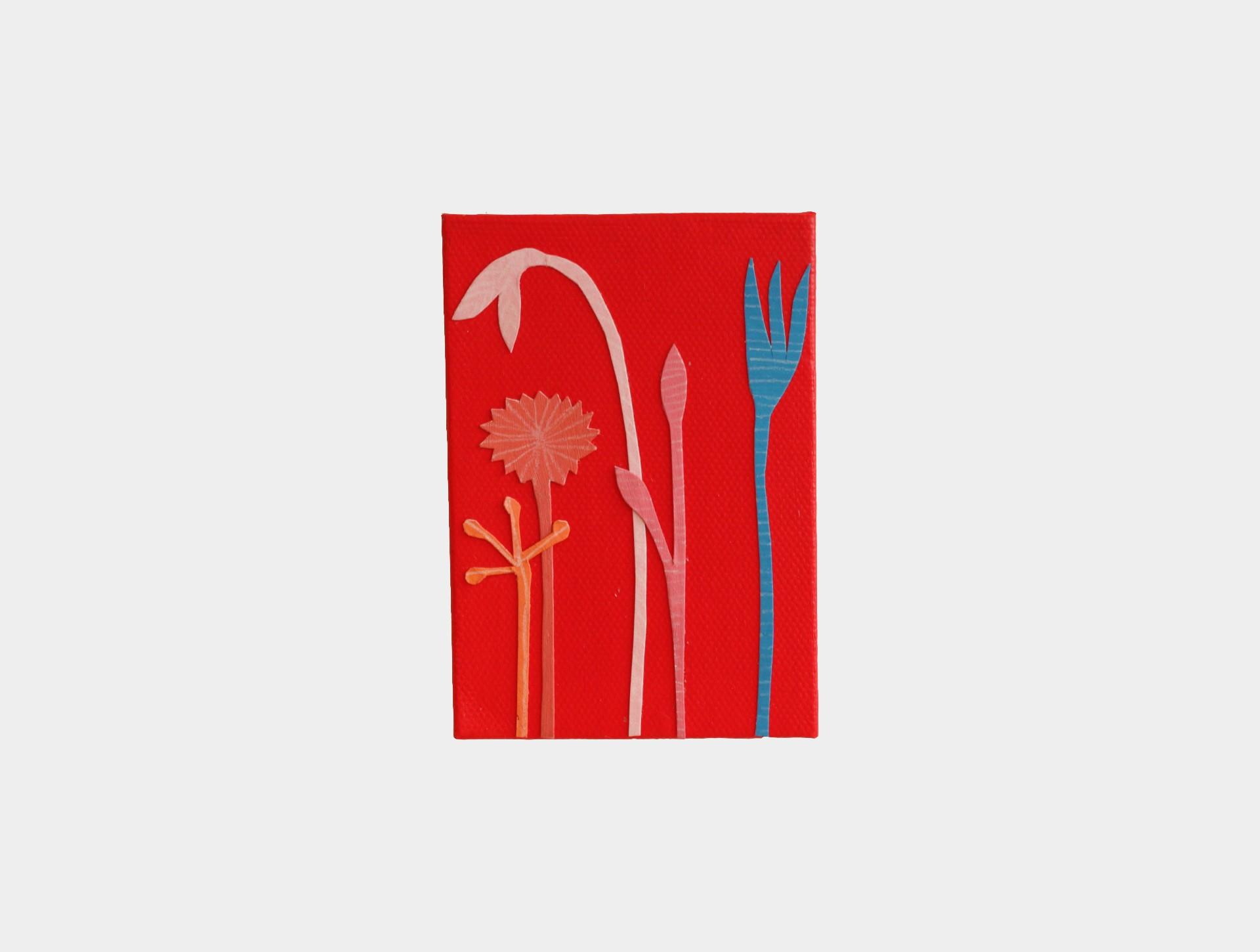 Mini schilderijtje bloemen rood